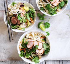 This fresh and crisp noodle salad takes just 30 minutes to make, and is low in fats and saturates too. Best Summer Salads, Summer Salad Recipes, Healthy Salad Recipes, Vegetarian Recipes, Couscous Recipes, Chickpea Recipes, Healthy Chinese Recipes, Pork Noodles, Sweet Chilli Sauce