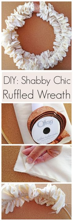Learn to make this beautiful shabby chic ruffled wreath for fall or Thanksgiving! | CatchMyParty.com