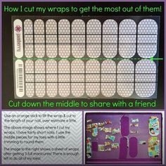 This shows how to get 4 (or more) applications out of one Jamberry sheet!   http://laurelsjams.jamberrynails.net/product/