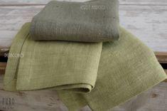 """Tessuto lino grezzo """"tela cruda"""" puro lino 100% ... colore Lino 100% Verde Marcio, Lino 100%  Verde Pistacchio. Ideale per Tovaglie, Runners, Tovagliette Americana o Tende oscuranti. Peso gr/m. – Weight gr. 450 ml. h.140 cm - // - Lino di qualità ad un prezzo picollo su http://www.marinigerardi.it/store/negozio/tessuto-lino-grezzo-tovaglie-tende/"""