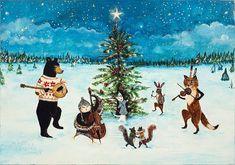 L'art imprimé, O joyeuse nuit, Noël, woodland Noël, solstice d'hiver, danse des animaux