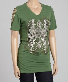Another great find on #zulily! Green Sparkle Cross Cut-Out Tee - Plus #zulilyfinds