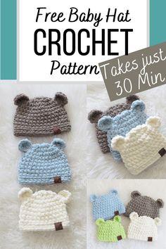 Crochet Baby Hats Free Pattern, Crochet Hats For Boys, Easy Crochet Hat, Crochet Baby Hat Patterns, Baby Hats Knitting, Cute Crochet, Baby Hat Crochet, Crochet Baby Stuff, Baby Knitting Patterns Free Newborn
