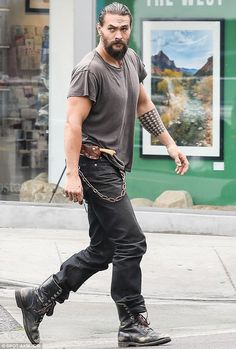 Blade runner; Jason Momoa was wearing a knife when he stepped out in LA on Sunday