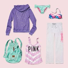 Victoria's Secret pink clothes.