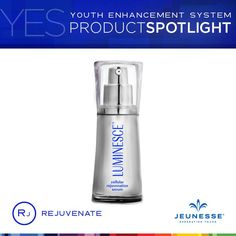 ::LUMINESCE™ cellular rejuvenation serum from Jeunesse:: Did you know this silky serum has the highest percentage of growth factor complex possible to encourage cell renewal? Use it twice daily after cleansing and as a primer for the daily moisturizing complex or advanced night repair. Its corrective properties make this the most popular product in the LUMINESCE line. BENEFITS:  - Helps even out discolored and blotchy skin tones - Provides a youthful luminosity to the skin