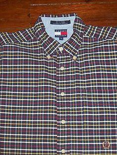 Tommy Hilfiger Men's L Long Sleeve Button Front Shirt 100% Cotton Pocket logo