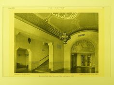 Reception Hall, Lake Norconian Club, Los Angeles, CA, 1930, Lithograph. Dwight Gibbs.
