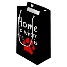 Home is where the paw print is small gift bag