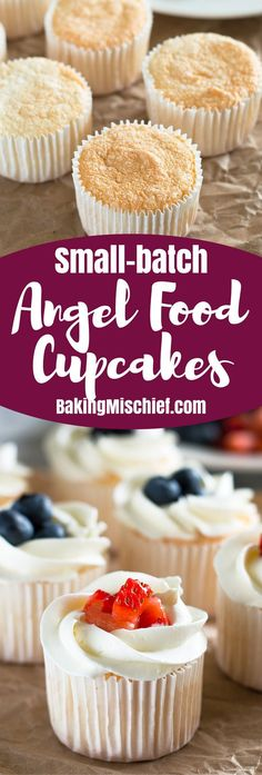 Small-batch Angel Food Cupcakes are a perfect light dessert. From BakingMischief… - Food Drinks Angel Food Cake Icing, Angel Food Cake Desserts, Angel Food Cupcakes, Baking Cupcakes, Food Cakes, Cupcake Cakes, Dessert Recipes, Mini Angel Food Cake Recipe, Healthy Cupcake Recipes