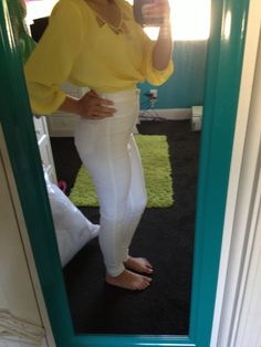Yellow crop top white high wasted pants, would be super cute with brown wedge sandals!