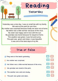 Yesterday R - Interactive worksheet English Grammar For Kids, English Worksheets For Kids, English Lessons For Kids, English Reading, English Writing Skills, English Vocabulary Words, English Language Learning, Learn English Words, First Grade Reading Comprehension