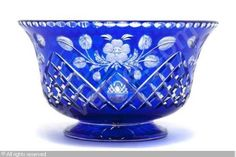 """Bohemian Crystal"" sold by Leslie Hindman Auctioneers, Chicago, on Wednesday, June 2011 Crystal Glassware, Waterford Crystal, Cobalt Glass, Cobalt Blue, Art Of Glass, Clear Glass, Antique Glass, Blue Crystals, Colored Glass"