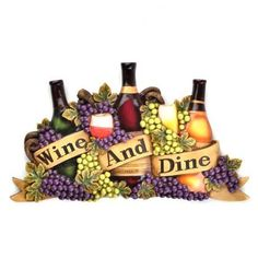 Grapes Wine Bottle Wall Art Plaque Tuscan Vineyard Kitchen Fruit Wine and Dine | eBay