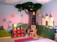 Princess bedroom by CHIC redesign. Felt canopy with fairy lights, nightlight castle, custom painted vanity and toy storage