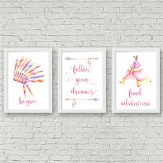 SET OF 3 WATERCOLOUR BOHO  TRIBAL Nursery/Bedroom Wall Art PrintS