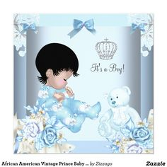 African American Vintage Prince Baby Shower Boy 5.25x5.25 Square Paper Invitation Card