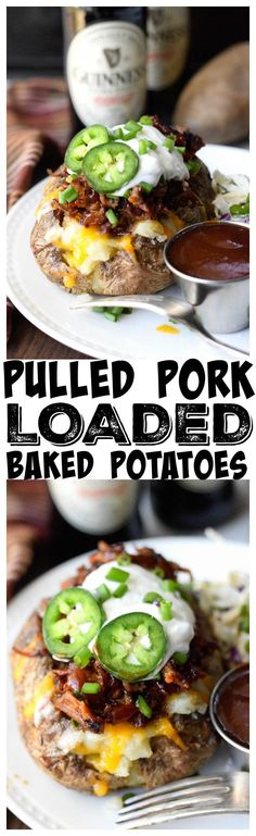 These Pulled Pork loaded baked potatoes are out of this world. They are hearty enough to be the main course and paired with a salad or slaw you have a delicious meal. #pulledporkrecipehealthy