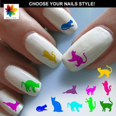 Pussycat, cat silhouette, kitten, cat, puppy, 75 nail transfer, crystal clear background, different size