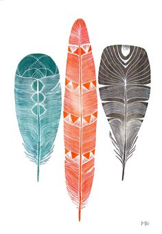 Feather Art Watercolor Painting Large Archival Print, by RiverLuna.   Would be a great tattoo!