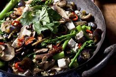 Mushroom and tofu with beanthread noodles