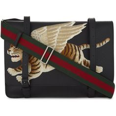 Gucci Tiger-embroidered leather messenger bag ($1,800) ❤ liked on Polyvore featuring men's fashion, men's bags, men's messenger bags, mens messenger bag, mens leather messenger bag and gucci mens messenger bag