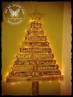 Árbol de navidad, se puede hacer con tela y escribir sobre ella o con tablas de madera. ¡Queda precioso!