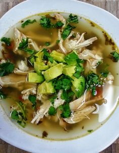 Souper Sunday: Cilantro Lime Chicken Soup by Flairdiva Rice Cooker Recipes, Soup Recipes, Chicken Recipes, Cooking Recipes, Healthy Recipes, I Love Food, Good Food, Yummy Food, Cilantro Lime Chicken