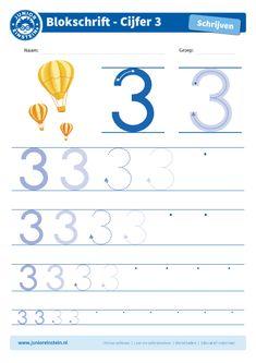Cijfer 3 - Dit werkblad biedt het cijfer 3 aan. Oefen eerst het cijfer een aantal keer op de eerste, grote cijfers. Oefen daarna de cijfers steeds kleiner. Tip: pak een aantal gekleurde potloden en schrijf het cijfer elke keer met een andere kleur! Je kunt gewoon over het vorige lijntje heen schrijven. Zo oefen je het cijfer meerdere keren en onthoud je het beter. Je kunt het blad ook vaker printen. Download ook de andere oefenbladen en maak een boekje van al je geschreven cijfers! Einstein, Educational Leadership, Educational Technology, Primary Education, Kids Education, Mobile Learning, Kids Learning, French Kids, Kindergarten Lessons