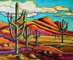 Cactus Painting, Cactus Art, Mexican Artwork, Farm Paintings, Desert Mountains, Southwestern Art, Desert Art, Puzzle Art, Psychedelic Art