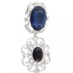 Silver Plated Crystal Rhinestones Dangle Flower & Key Charms Hook Earrings 6cm Long