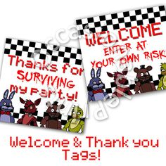 PRINTABLE Five Nights at Freddy's Thank you by OccasionablePrints