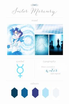 "dashberlins: "" Sailor Moon Moodboards - Sailor Mercury """