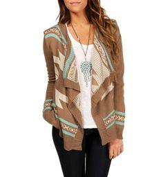 Mocha/Ivory/Mint Tribal Sweater