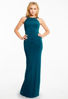 BEADED CLEO U-BACK DRESS #green #dresses #longdress #camillelavie #groupusa #beaded #eveningdress #chic