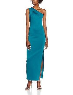14, Green (Green), Jane Norman Women's One Shoulder Scuba Maxi Dress NEW