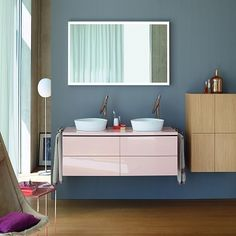 An impressive range of finishes and styles are offered within this range - Duravit L-Cube Furniture Vanity Units Bathroom Furniture Design, Modern Bathroom Decor, Contemporary Bathrooms, Design Bathroom, Bathroom Ideas, Double Vanity Unit, Vanity Units, Design Ikea, Cube Furniture