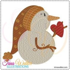 FREE for a Day (12/26/14 only) Valentine Snowman 1 Machine Embroidery Design http://trinawalker.com/shop/index.php?main_page=product_info&cPath=78_79&products_id=124