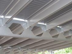 viga boyd metal perforada dimensiones - Google Search Steel Trusses, Roof Trusses, Steel Structure Buildings, Metal Structure, Wood Architecture, Architecture Details, Le Parking, Building Extension, Steel Deck