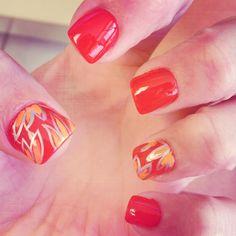 Cute fall nail design Fall Nail Designs, Cute Nail Designs, Pretty Toes, Pretty Nails, Hot Nails, Hair And Nails, Winter Nails, Summer Nails, Fall Nails