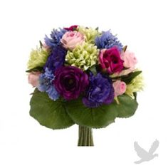 """11.5"""" Rose and Lisianthus Bouquet in Blue and Purple"""