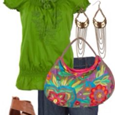 Love the bright green blouse