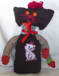 HANDMADE  SOFT CAT COTTON FABRIC  DOLL EMBROIDERED SPECIAL GIFT FROM ARTIST #HANDMADEBYRIVKAFILIN