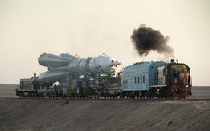 Train transporting Soyuz TMA-16 spacecraft to launchpad at Baikonur Cosmodrome Kazakhstan Sept. 28 2009. [30001890]
