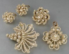 GEORGIAN SEED PEARL JEWELLERY: EARRINGS, BROOCHES , PENDANT c 1800's | eBay