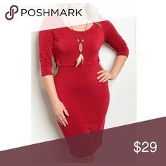 🎉🎉⚘⚘Host Pick ⚘⚘⚘Plus size Deep Red Dress🎉🎉⚘ Deep Red with side peep midi dress Dresses Midi