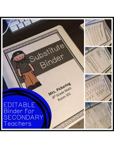 Secondary Substitute Binder {Editable} Perfect for back to school and getting your classroom set up! $