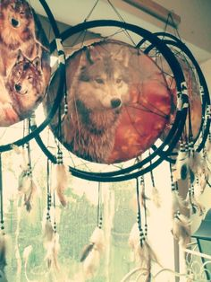 Howling wolf dream catcher spray paint art gift idea for Dream catcher spray painting