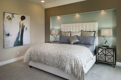 An inset for your bed creates a special place to turn in each night. Seen in Trinity Falls, a Dallas community.