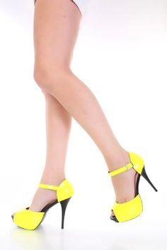 Yellow Neon Patent Faux Leather Peep Toe Platform Heels @ Amiclubwear Heel Shoes online store sales:Stiletto Heel Shoes,High Heel Pumps,Womens High Heel Shoes,Prom Shoes,Summer Shoes,Spring Shoes,Spool Heel,Womens Dress Shoes,Prom Heels,Prom Pumps,High He